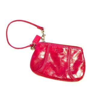 Hot pink patent leather Coach wristlet: never used